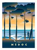 Affiche Surfing in Médoc pin 50x70cm Plume20